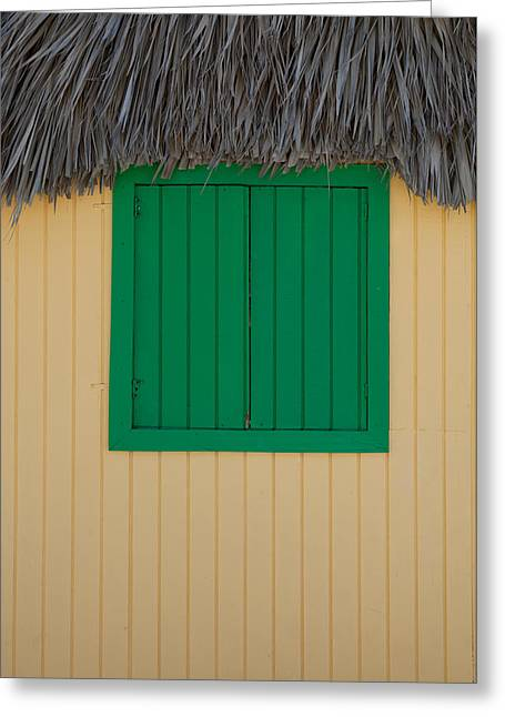Half Moon Cay Greeting Cards - Half Moon Cay Green Window Greeting Card by Christopher McCartin