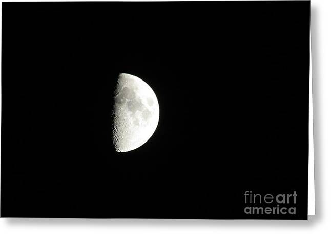 Man In The Moon Greeting Cards - Half Moon Greeting Card by Charity Hommel