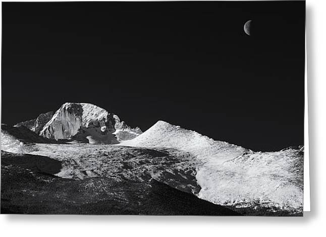 Monochrome Greeting Cards - Half Moon over Longs Peak Greeting Card by Darren  White