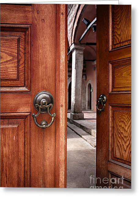 Entrance Door Greeting Cards - Half open doors Greeting Card by Sophie McAulay
