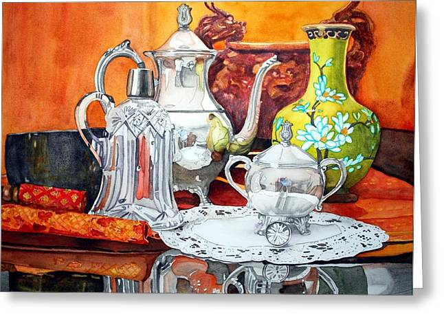 Glass Reflecting Paintings Greeting Cards - Half Past Tea Greeting Card by Gerald Carpenter