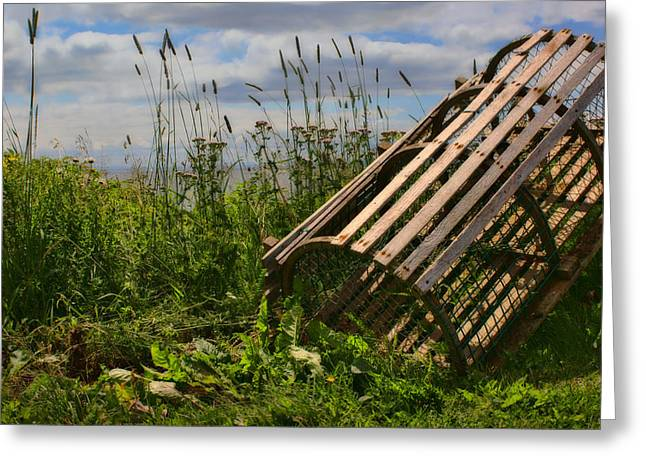Lobster Pot Greeting Cards - Half Round Lobster Trap Greeting Card by Nikolyn McDonald