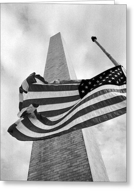 Half Staff Greeting Cards - Half Staff At Washington Monument Greeting Card by Greg and Chrystal Mimbs