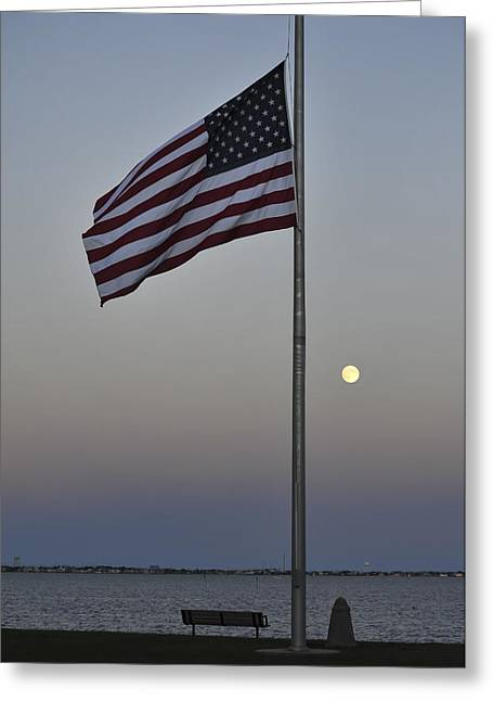 Half Staff Greeting Cards - Half Staff Moon Greeting Card by Terry DeLuco