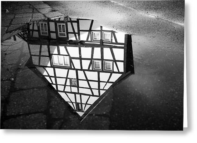 Raining Down Greeting Cards - Half-timbered house water reflection black and white Greeting Card by Matthias Hauser