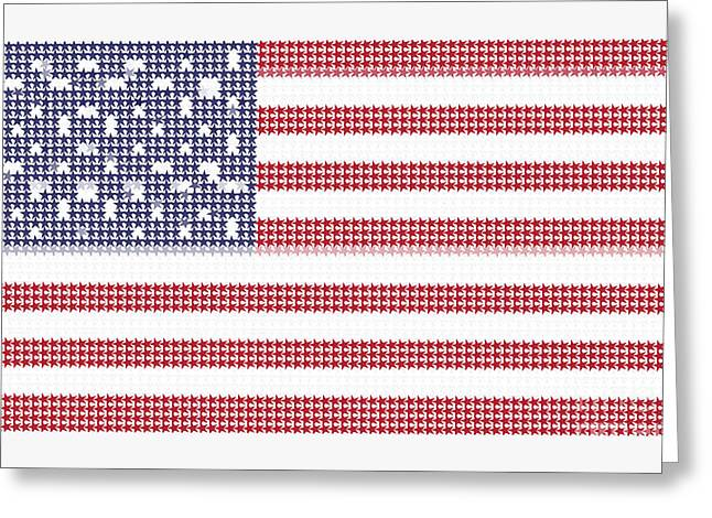 Us Capital Mixed Media Greeting Cards - Halftone US Flag Greeting Card by Celestial Images