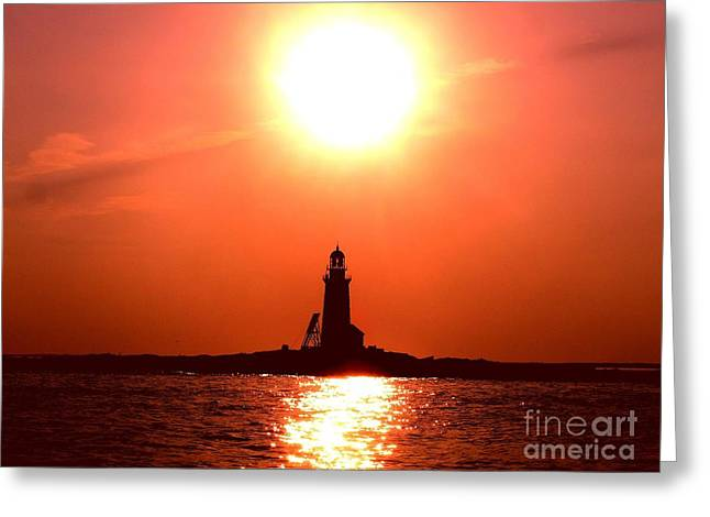 Maine Shore Greeting Cards - Halfway Rock Lighthouse Greeting Card by Donnie Freeman