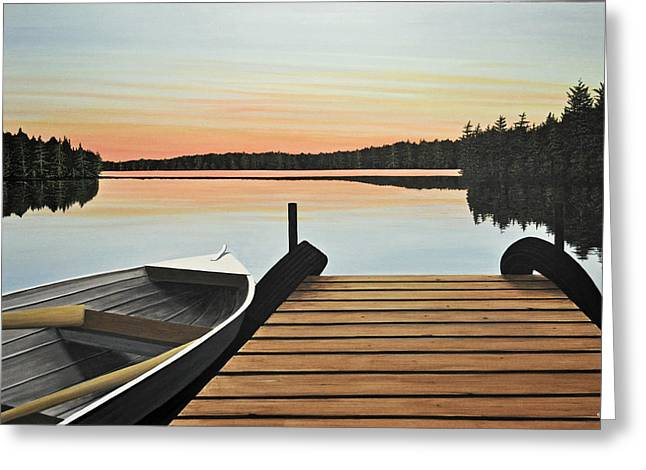 Canoe Paintings Greeting Cards - Haliburton Dock Greeting Card by Kenneth M  Kirsch