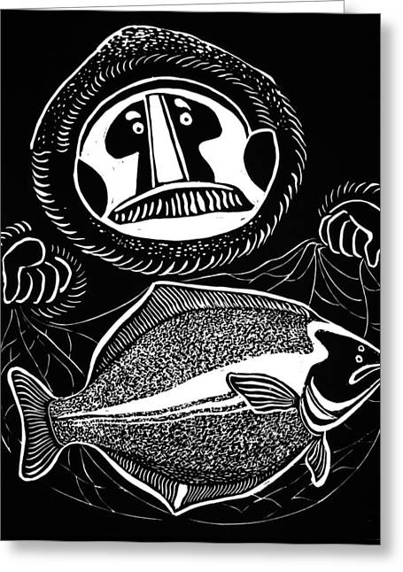 Linocut Reliefs Greeting Cards - Halibut - black and white Greeting Card by Vadim Vaskovsky