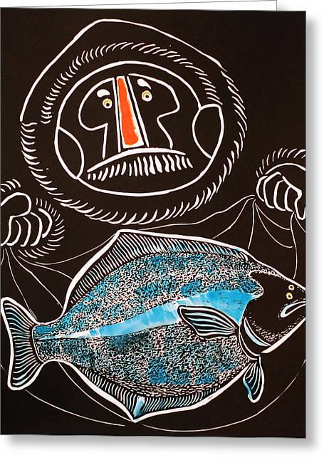 Linocut Reliefs Greeting Cards - Halibut Greeting Card by Vadim Vaskovsky