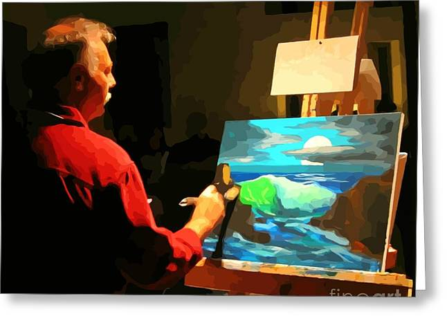 Halifax Artists Greeting Cards - Halifax Artist at the Art Battle Greeting Card by Crystal Loppie