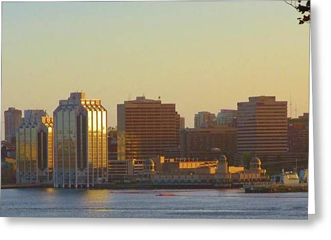 Boats In Harbor Greeting Cards - Halifax City Skyline Greeting Card by John Malone