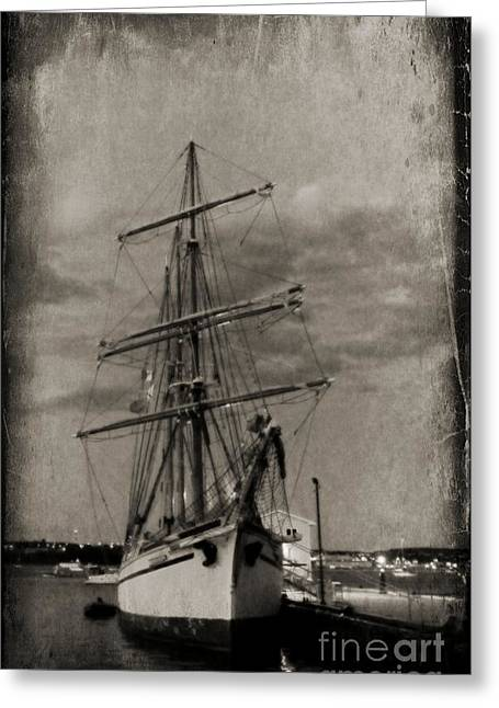 Ship In Sepia Greeting Cards - Halifax Harbour Greeting Card by John Malone