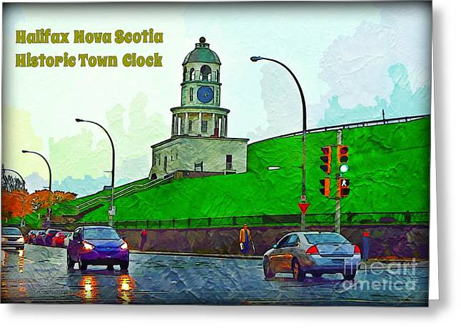 Torism Greeting Cards - Halifax Historic Town Clock Poster Greeting Card by Halifax photographer John Malone
