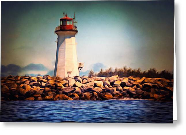Halifax Art Greeting Cards - Halifax Lighthouse Nova Scotia Greeting Card by Georgiana Romanovna