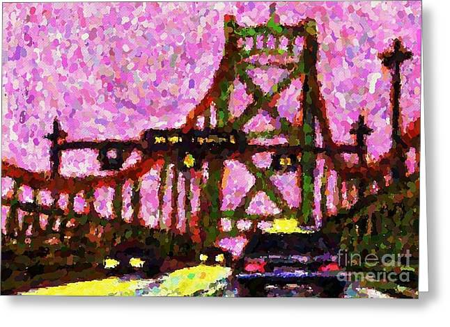 Pointillist Greeting Cards - Halifax MacDonald Bridge Pointillist Greeting Card by John Malone