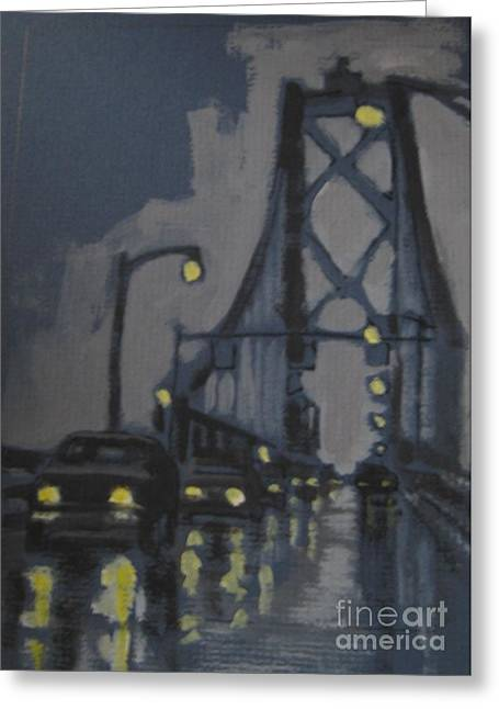 John Malone Artist Greeting Cards - Halifax MacDonald Bridge Rainy Evening Greeting Card by John Malone