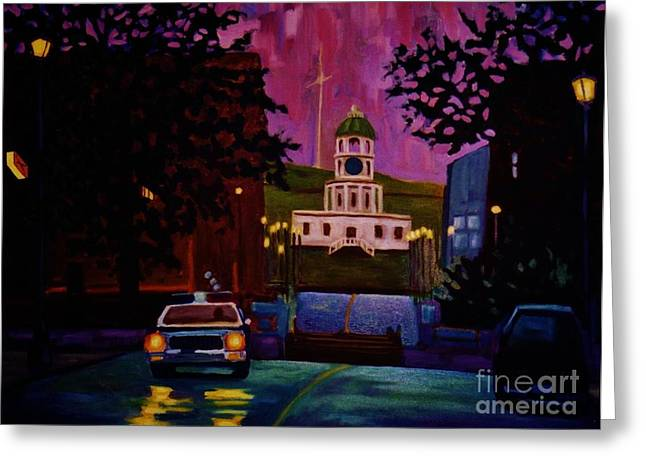 Johnmaloneartist.com Greeting Cards - Halifax Night Patrol and Town Clock Greeting Card by John Malone