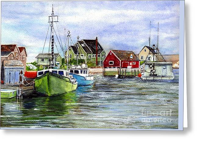 Halifax Art Greeting Cards - Peggys Cove Nova Scotia Watercolor Greeting Card by Carol Wisniewski