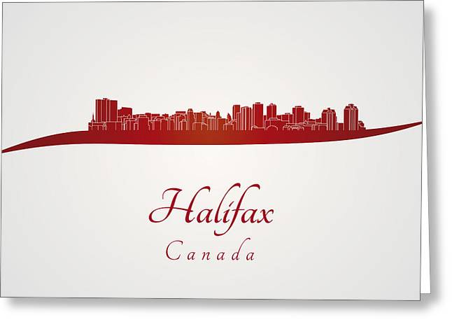 Halifax Greeting Cards - Halifax skyline in red Greeting Card by Pablo Romero