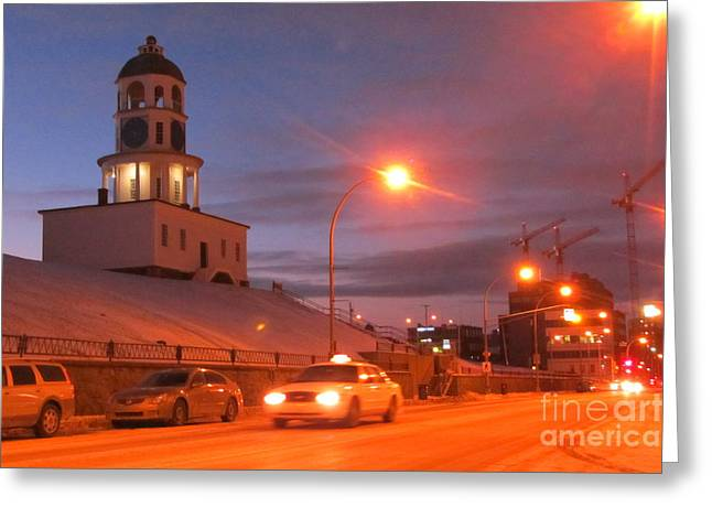Halifax Art Greeting Cards - Halifax Town Clock in Halifax Nova Scotia Greeting Card by Halifax photographer John Malone