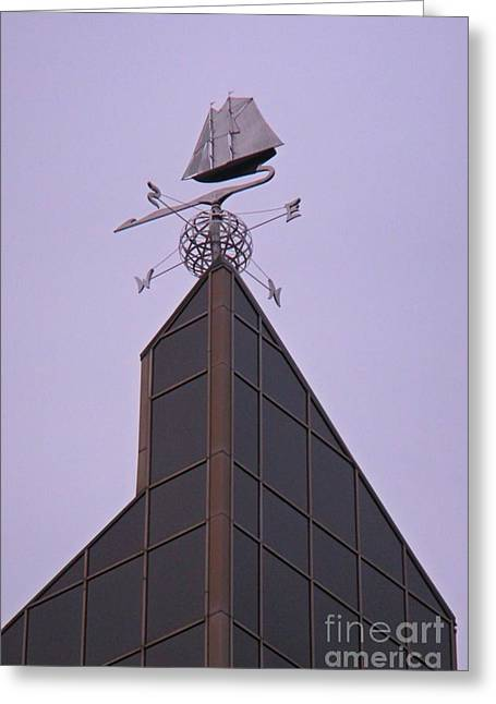 Halifax Photographs Greeting Cards - Halifax Trade and Convention Centre Weather Vane Greeting Card by John Malone Halifax graphic artist