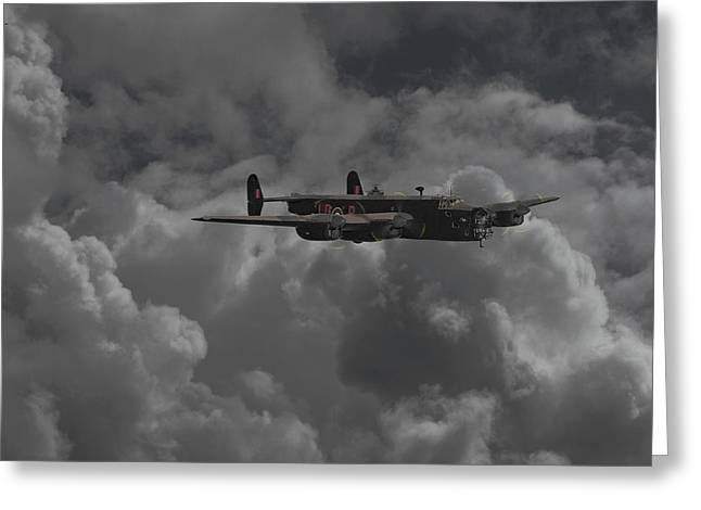Moonlit Scenes Greeting Cards - Halifax - WW2 Heavy Bomber Greeting Card by Pat Speirs