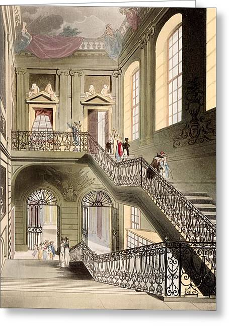 Staircase Drawings Greeting Cards - Hall And Staircase At The British Greeting Card by T. & Pugin, A.C. Rowlandson