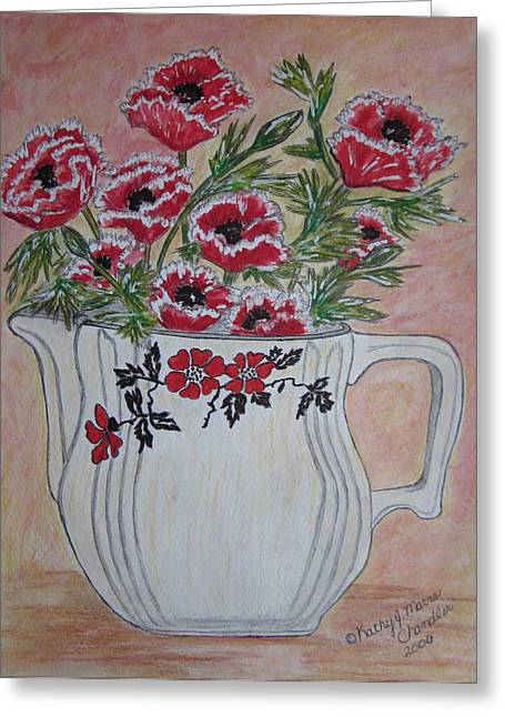 Pottery Pitcher Paintings Greeting Cards - Hall China Red Poppy and Poppies Greeting Card by Kathy Marrs Chandler