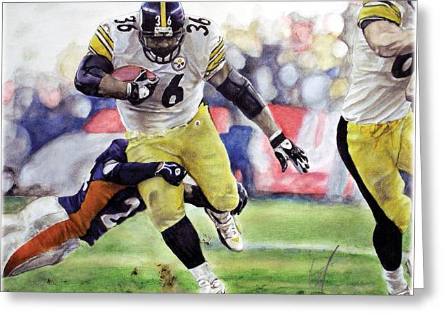 Jerome Bettis Greeting Cards - Hall Of Fame Greeting Card by William Western