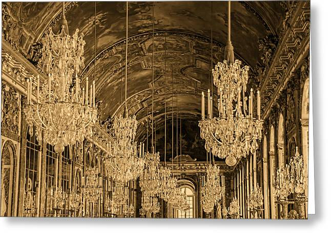 Sepia Chandeliers Greeting Cards - Hall of Mirrors -Sepia -  Versailles France Greeting Card by Jon Berghoff