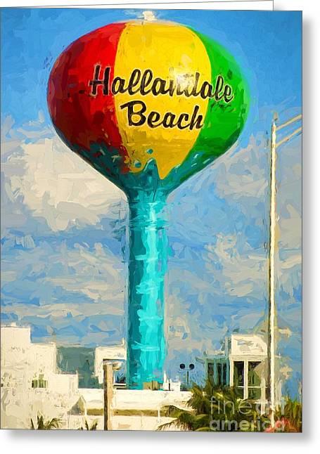 Hallandale Beach Greeting Cards - Hallandale Beach Water Tower Greeting Card by Les Palenik