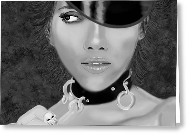 Halle Berry Greeting Cards - Halle Berry Black and white Greeting Card by Mathieu Lalonde