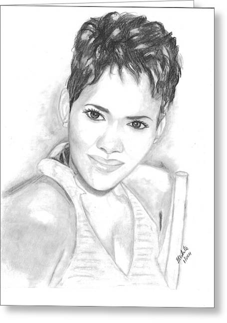 Halle Berry Greeting Cards - Halle Berry Greeting Card by Brian White