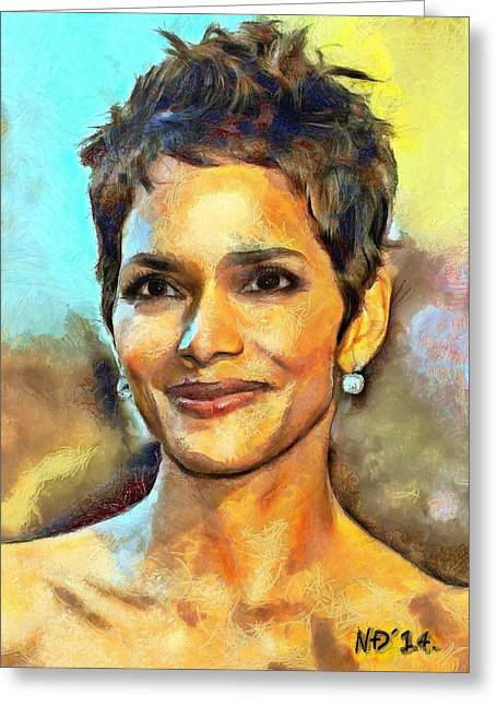 Halle Berry Greeting Cards - Halle Berry Greeting Card by Nikola Durdevic