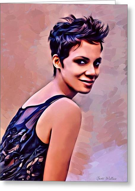 Halle Berry Greeting Cards - Halle Berry Painting Greeting Card by Scott Wallace