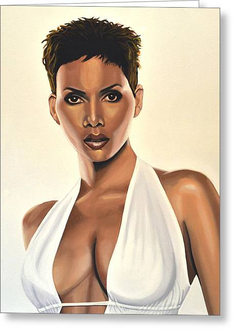 Halle Berry Painting Greeting Card by Paul Meijering
