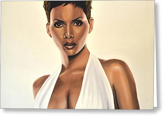 Famous Actress Greeting Cards - Halle Berry Greeting Card by Paul Meijering