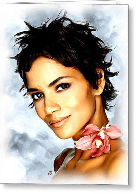Halle Berry Greeting Cards - Halle Berry Greeting Card by Paul Quarry