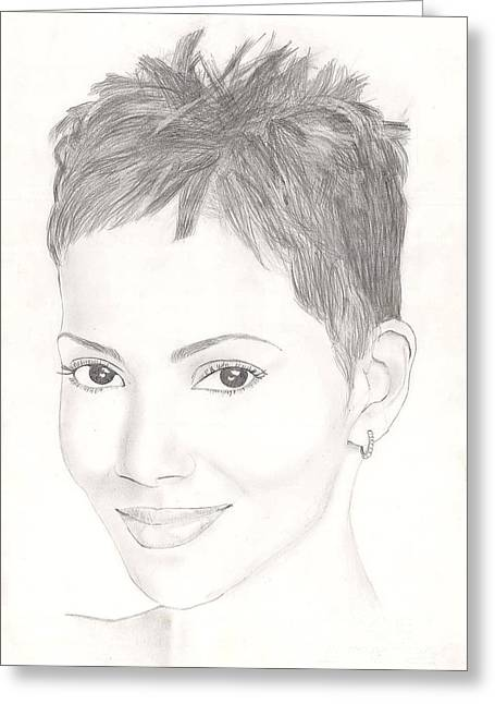 Role Models Drawings Greeting Cards - Halle Berry Greeting Card by Vincent Turner
