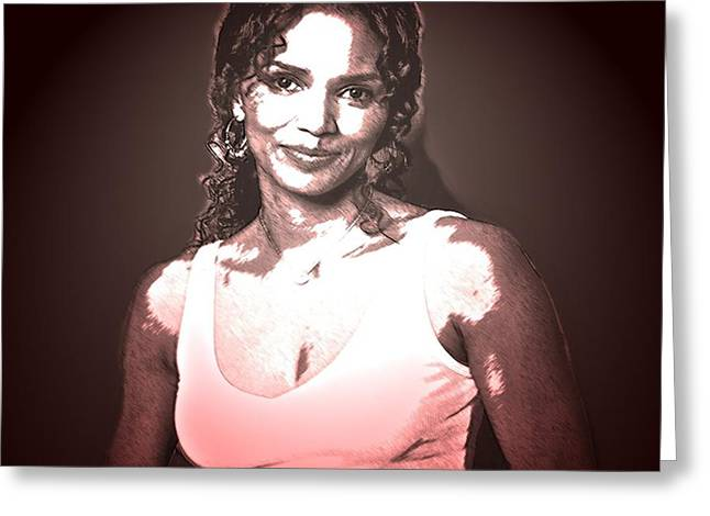 Halle Berry Greeting Cards - Halle Greeting Card by Tony Ashley