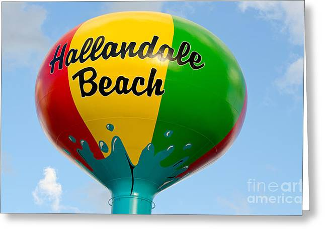 Hallandale Beach Greeting Cards - Hallendale Beach Water Tower Greeting Card by Les Palenik