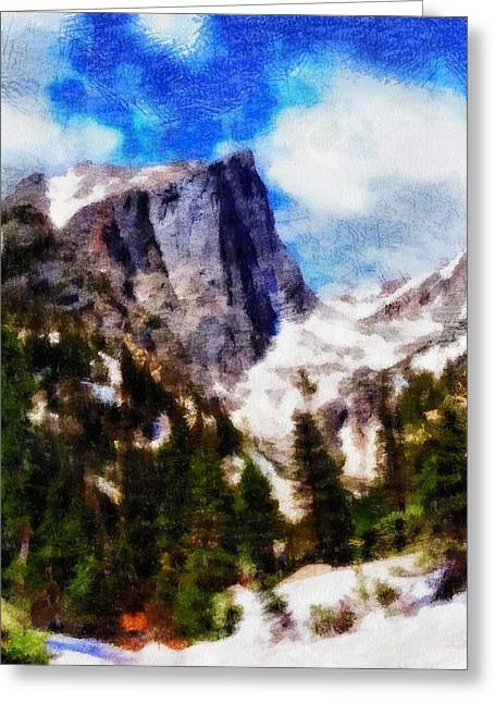 Rocky In Spring Greeting Cards - Hallett Peak In Spring Greeting Card by Dan Sproul