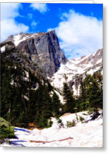Rocky In Spring Greeting Cards - Hallett Peak Rocky Mountain National Park Greeting Card by Dan Sproul