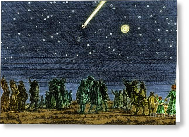 Halley Greeting Cards - Halleys Comet 1682 Greeting Card by Science Source