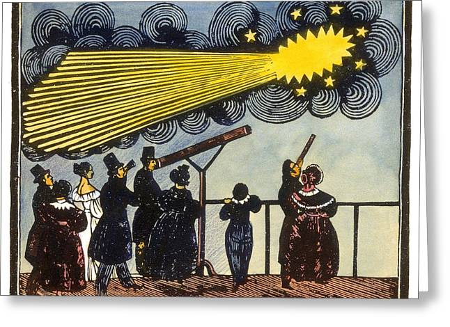 Observer Greeting Cards - Halleys comet, 19th Century artwork Greeting Card by Science Photo Library