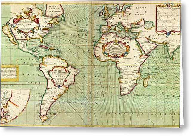 Halley's Global Magnetic Chart Greeting Card by Stephen A. Schwarzman Building/the Lionel Pincus And Princess Firyal Map Division/new York Public Library