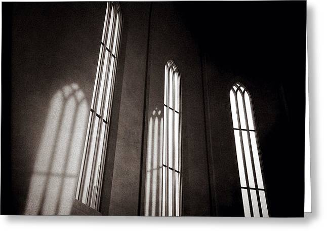 Icelandic Greeting Cards - Hallgrimskirkja Windows Greeting Card by Dave Bowman