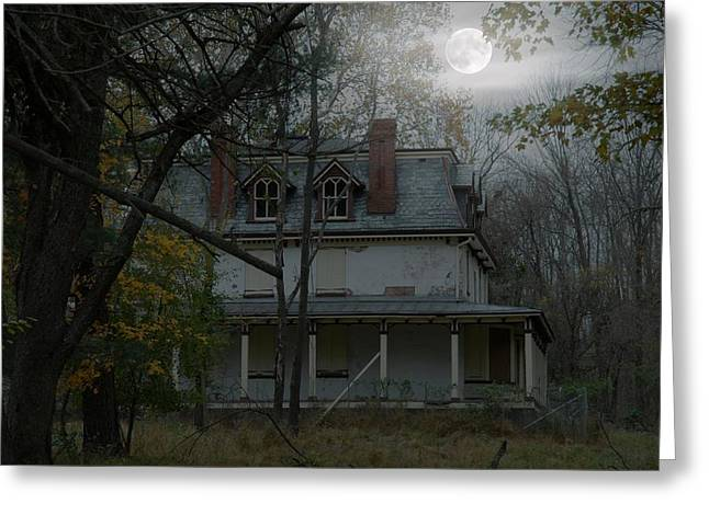 Haunted House Greeting Card Greeting Cards - Halloween 149 Greeting Card by Joyce StJames
