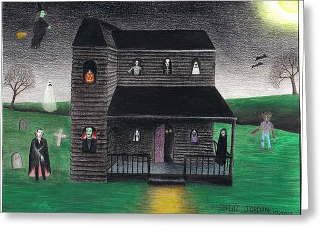 """haunted House"" Drawings Greeting Cards - Halloween 2003 Greeting Card by Bob Jordan"